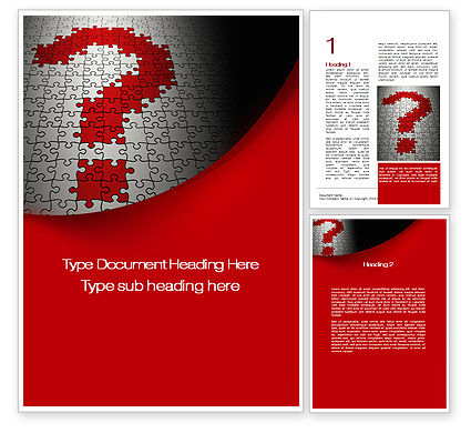 Question in Puzzle Word Template, 10160, Consulting — PoweredTemplate.com