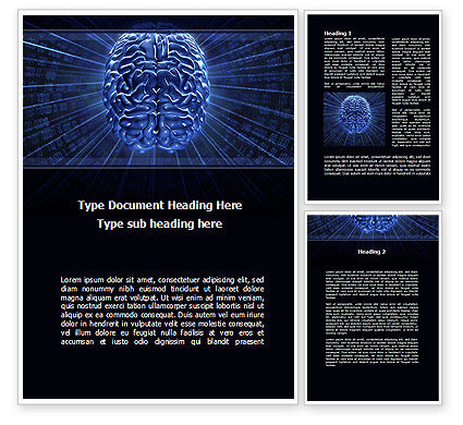 Digital Brain Word Template, 10212, Technology, Science & Computers — PoweredTemplate.com