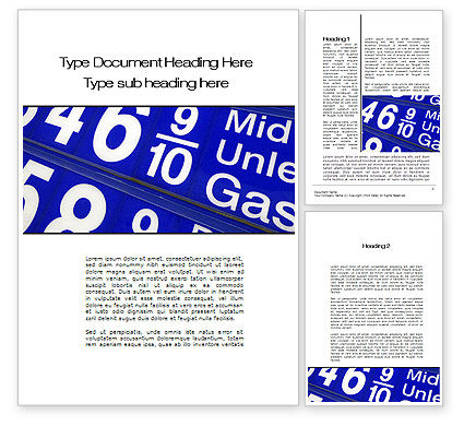 Gasoline Prices Word Template, 10215, Financial/Accounting — PoweredTemplate.com