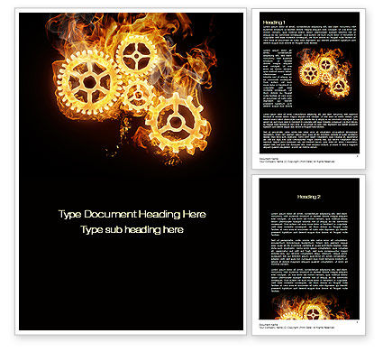 Burning Mechanism Word Template, 10231, Utilities/Industrial — PoweredTemplate.com