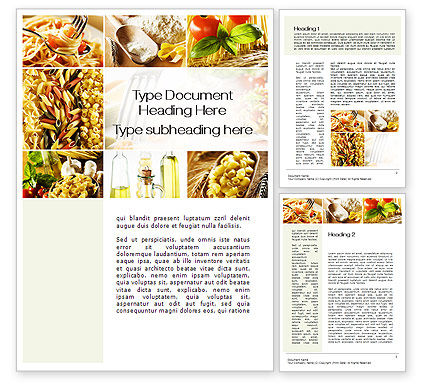 Food & Beverage: Cooking Pasta Word Template #10250