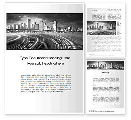 Construction: Monochrome City Word Template #10253