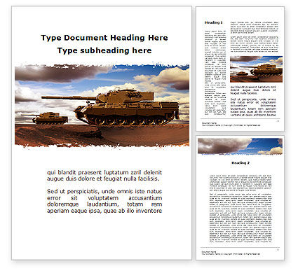 Military: Tank Attack Word Template #10258