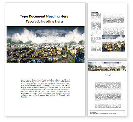 Tsunami Word Template, 10304, Nature & Environment — PoweredTemplate.com