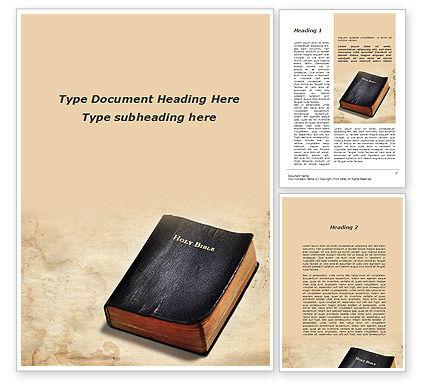 Religious/Spiritual: Worn Bible Word Template #10323