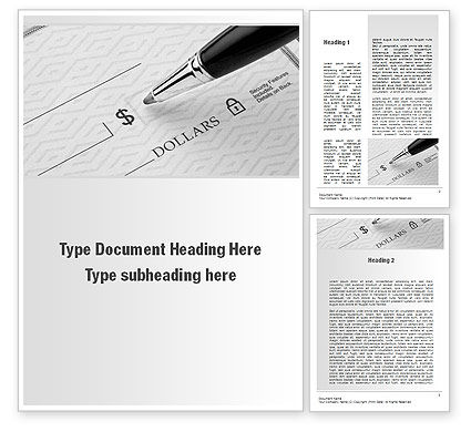 Writing a Check Word Template, 10338, Financial/Accounting — PoweredTemplate.com