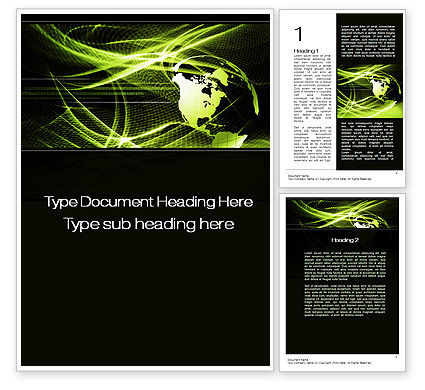 Green Waves Globe Word Template, 10346, Global — PoweredTemplate.com