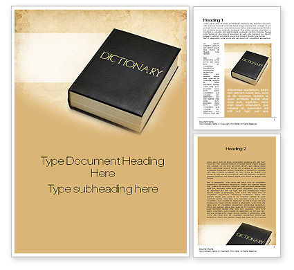 Dictionary Book Word Template, 10350, Education & Training — PoweredTemplate.com