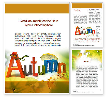 3D Autumn Word Template, 10360, Nature & Environment — PoweredTemplate.com