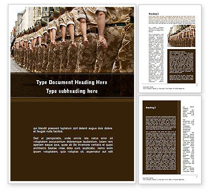 Soldiers March Word Template, 10365, Military — PoweredTemplate.com