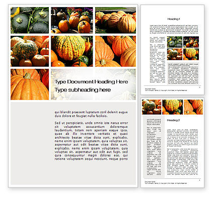 Pumpkin Word Template, 10366, Agriculture and Animals — PoweredTemplate.com