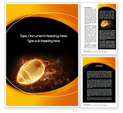 Sports: Fiery American Football Ball Word Template #10412