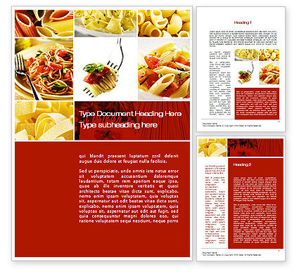 Pasta Recipes Word Template, 10426, Food & Beverage — PoweredTemplate.com