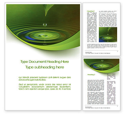 Green Water Word Template, 10446, Nature & Environment — PoweredTemplate.com