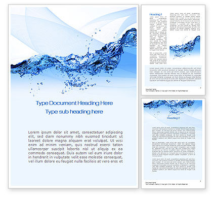 Nature & Environment: Crystal Water Word Template #10453