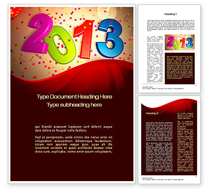 2013 and Confetti Word Template, 10461, Holiday/Special Occasion — PoweredTemplate.com