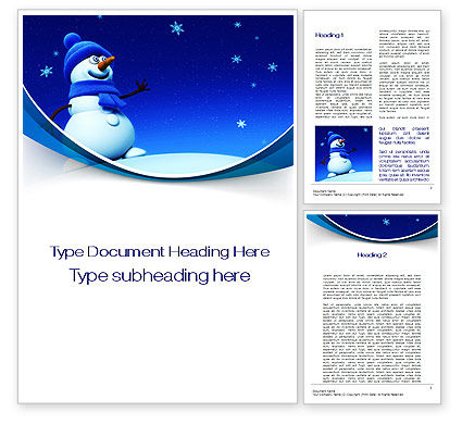 Jolly Snowman Word Template, 10465, Holiday/Special Occasion — PoweredTemplate.com