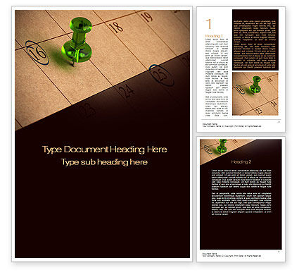 Business Concepts: Pushpin in Calendar Word Template #10475