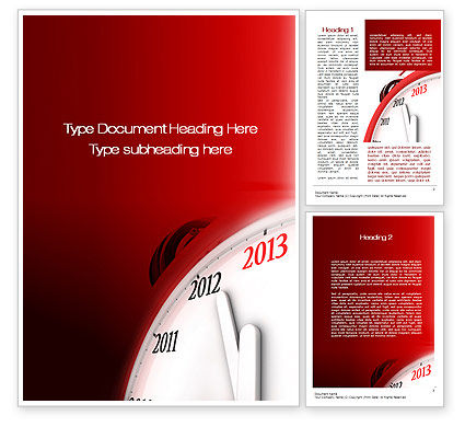 2013 New Year Clock Word Template, 10488, Business Concepts — PoweredTemplate.com