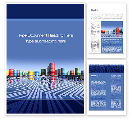Inside Computer Chip Word Template, 10490, Technology, Science & Computers — PoweredTemplate.com