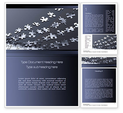Consulting: Lines of Puzzle Pieces Word Template #10502