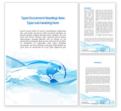 Blue Waves Globe Word Template, 10503, Global — PoweredTemplate.com