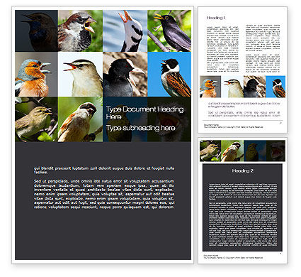 Education & Training: Birds Word Template #10528