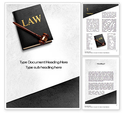 Legal: Law Book with Gavel Word Template #10536