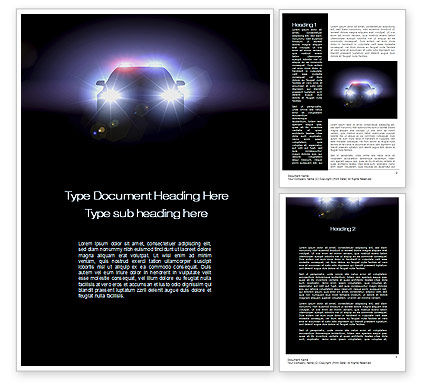 Legal: Police Car at Night Word Template #10579