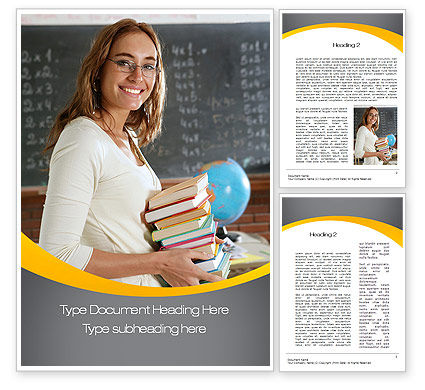 Teacher Word Template, 10596, People — PoweredTemplate.com