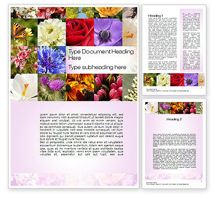 Variety of Flowers Word Template