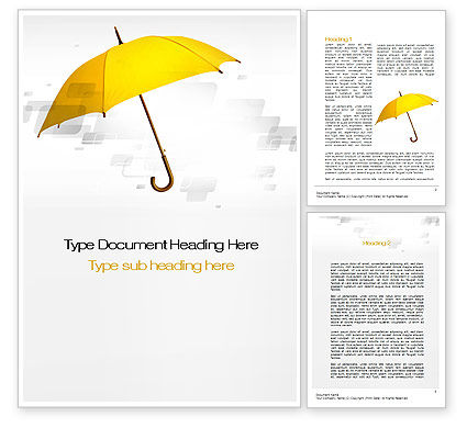 Yellow Umbrella Word Template, 10602, Business Concepts — PoweredTemplate.com