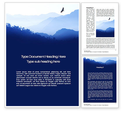 Nature & Environment: Mountain Silhouettes Word Template #10605