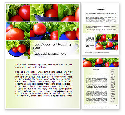 Food & Beverage: Lettuce and Tomato Word Template #10606