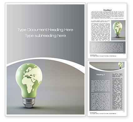 Nature & Environment: World Energy Bulb Word Template #10623