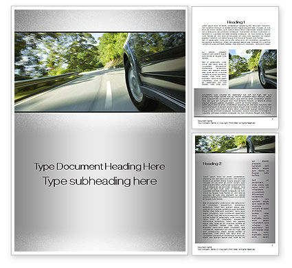 Driving on Winding Road Word Template, 10626, Cars/Transportation — PoweredTemplate.com