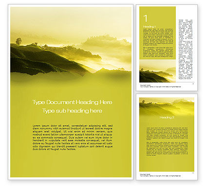 Agriculture and Animals: Morning on Tea Plantation Word Template #10644