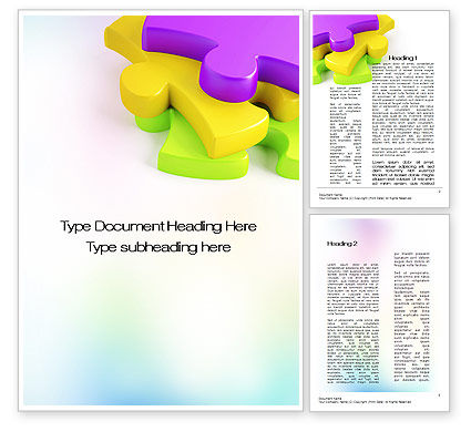 Colored Puzzle Pieces Word Template, 10647, Business Concepts — PoweredTemplate.com