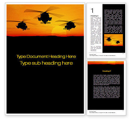 Helicopters at Sunset Word Template, 10662, Military — PoweredTemplate.com