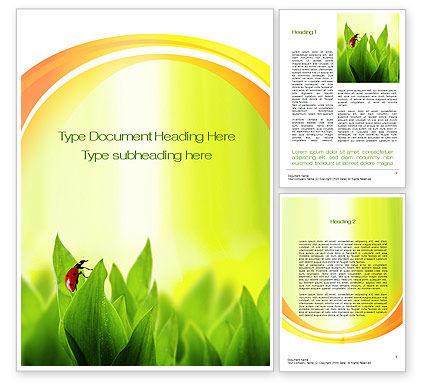 Ladybug on Grass Word Template