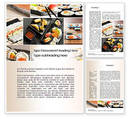 Food & Beverage: Sushi Collage Word Template #10675