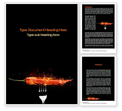 Burning Hot Chili Pepper Word Template, 10688, Food & Beverage — PoweredTemplate.com