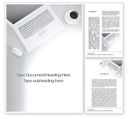 Business: Workplace with Laptop Word Template #10690