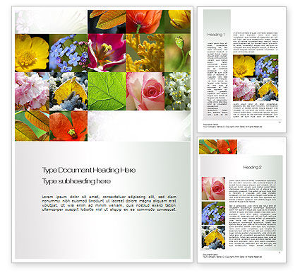 Flowers Collage Word Template, 10706, Nature & Environment — PoweredTemplate.com