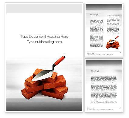 Bricks Word Template, 10717, Construction — PoweredTemplate.com