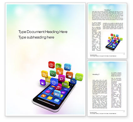 Mobile Apps Word Template, 10724, Technology, Science & Computers — PoweredTemplate.com
