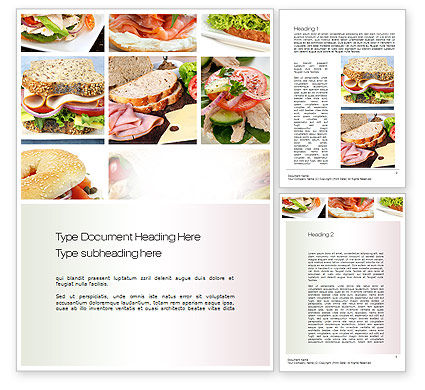 Food & Beverage: Sandwiches Word Template #10734