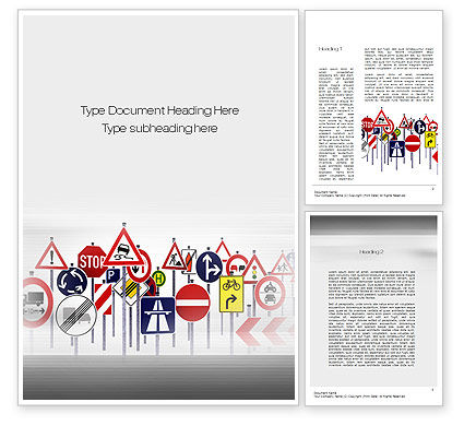 Education & Training: Road Signs Word Template #10742