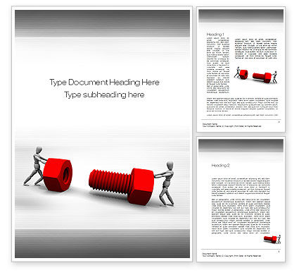 Two People Pushing Bolt Word Template, 10752, Construction — PoweredTemplate.com