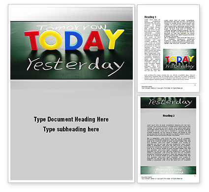 Today Yesterday and Tomorrow Word Template, 10782, Business Concepts — PoweredTemplate.com